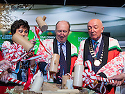 27/1/16 Minister Shane Ross with Maureen Ledwith, director Holiday World, Cormac Meehan, President ITAA at the Holiday World Show 2017 at the RDS Simmonscourt in Dublin which runs to Sunday 29th January.. Picture: Arthur Carron