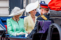 """British Royal family during The Queen's Birthday Parade to celebration of Her Majesty The Queen's official birthday. This year the regiment """"trooping"""" its Colour (ceremonial Regimental flag) is the 1st Battalion Grenadier Guards, with One thousand four hundred soldiers will take part. The event is attended by almost every member of the Royal Family. London, UK, on June 08, 2019. Photo by Robin Utrecht/ABACAPRESS.COM"""