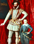 Walter Raleigh (1552-1612) English courtier and navigator. Favourite of Elizabeth I. Half-brother of Humphrey Gilbert. Said to have introduced Tobacco and Potatoes into England.   Portrait of Raleigh with his son, c1590.