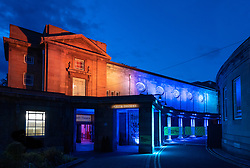 Night view of exterior of Leith theatre during Edinburgh International Festival 2019, Scotland, UK