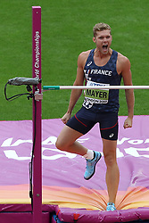 France's Kevin Mayer competing in the high jump event of the men's Decathlon during day eight of the 2017 IAAF World Championships at the London Stadium. PRESS ASSOCIATION Photo. Picture date: Friday August 11, 2017. See PA story ATHLETICS World. Photo credit should read: John Walton/PA Wire. RESTRICTIONS: Editorial use only. No transmission of sound or moving images and no video simulation.