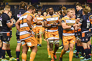Toyota Cheetah players are applauded off the pitch by victorious Edinburgh after the Guinness Pro 14 2018_19 match between Edinburgh Rugby and Toyota Cheetahs at BT Murrayfield Stadium, Edinburgh, Scotland on 5 October 2018.