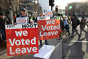Vote Leave demonstrators protest in Westminster opposite Parliament one week before MPs vote on the finalised deal on 8th January 2019 in London, England, United Kingdom. MPs will vote on Theresa Mays Brexit deal on Tuesday, 15 January, government sources confirmed.