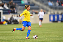 February 27, 2019 - Chester, PA, U.S. - CHESTER, PA - FEBRUARY 27: Brazil Defender Erika (4) makes a pass in the first half during the She Believes Cup game between Brazil and England on February 27, 2019 at Talen Energy Stadium in Chester, PA. (Photo by Kyle Ross/Icon Sportswire) (Credit Image: © Kyle Ross/Icon SMI via ZUMA Press)