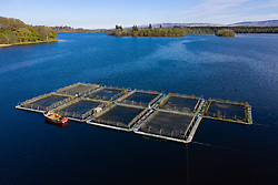 Small fish farm on Lake of Menteith, Stirlingshire, Scotland, UK