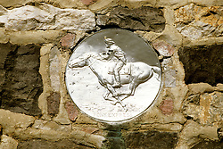 Utah: Simpson Springs Station, Pony Express Emblem, photo: utpony101  .Photo copyright Lee Foster, www.fostertravel.com, 510/549-2202, lee@fostertravel.com