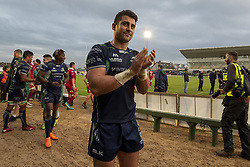September 22, 2018 - Galway, Ireland - Tiernan O'Halloran of Connacht celebrates during the Guinness PRO14 match between Connacht Rugby and Scarlets at the Sportsground in Galway, Ireland on September 22, 2018  (Credit Image: © Andrew Surma/NurPhoto/ZUMA Press)