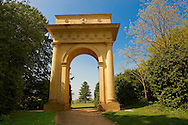 Neo-Classic Doric arch folly in the English landscape gardens of Stowe, designed by Capability Brown. Buckingham, England .<br /> <br /> Visit our EARLY MODERN ERA HISTORICAL PLACES PHOTO COLLECTIONS for more photos to buy as wall art prints https://funkystock.photoshelter.com/gallery-collection/Modern-Era-Historic-Places-Art-Artefact-Antiquities-Picture-Images-of/C00002pOjgcLacqI