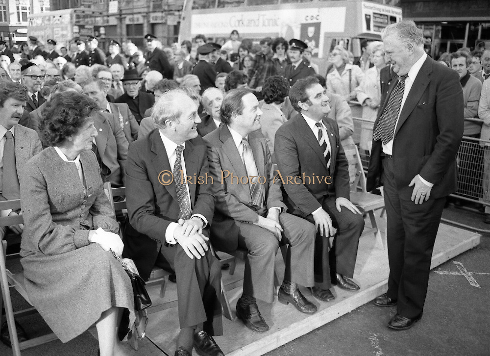 Jim Larkin Statue. O'Connell Street Dublin.   (M77)..1979..15.06.1979..06.15.1979..15th June 1979..Today saw the unveiling of a statue in memory of James (Big Jim) Larkin. Larkin was a trade union activist who was a thorn in the side of many employers who refused to allow workers join unions. A dispute with The Dublin United Tramway Company  escalated into what is now known as the great lock out. Employers banded together and wanted workers to sign a pledge stating that they would not join Larkin's union the Irish Transport And General workers Union (ITGWU). The lock out lasted seven months. During this time Larkin was nited for his rhetoric in standing up for the poor and oppressed within Irish Society...Jim Larkin: Born Jan 21 1876 .Died Jan 30 1947...Attending the unveiling of the Jim Larkin Statue in O'Connell Street, Dublin were (L-R), Mrs George Colley, Mr George Colley TD,Minister for Finance,Mr Harold O'Sullivan,President,Irish Congress of Trade Unions, Mr Gene Fitzgerald TD, Minister for Labour and Mr Denis Larkin,Former Secretary General,Workers Union Of Ireland.