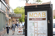 SHOT 5/7/16 6:39:41 PM - Moab is a city in Grand County, in eastern Utah, in the western United States. Moab attracts a large number of tourists every year, mostly visitors to the nearby Arches and Canyonlands National Parks. The town is a popular base for mountain bikers and motorized offload enthusiasts who ride the extensive network of trails in the area. Includes images of Scenic Byway 128, Fisher Towers and downtown Moab. (Photo by Marc Piscotty / © 2016)