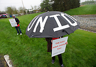 Independent Laboratory Employees Union members strike May 3, 2019, outside the Exxon Mobil Corp. research facility on U.S. 22 in Annandale, New Jersey. (Photo by Matt Smith)