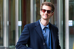London, October 22 2017. Actor Andrew Garfield leaves the BBC after appearing on the Andrew Marr show at the BBC New Broadcasting House in London. © Paul Davey