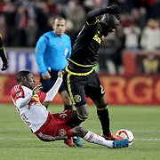 Kei Kamara, (right), Columbus Crew SC, is challenged by Shaun Wright-Phillips, New York Red Bulls, during the New York Red Bulls Vs Columbus Crew SC, Major League Soccer Eastern Conference Championship, second leg, at Red Bull Arena, Harrison, New Jersey. USA. 29th November 2015. Photo Tim Clayton