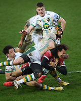 Rugby Union - 2020 / 2021 Gallagher Premiership - Gloucester vs Northampton Saints - Kingsholm<br /> <br /> Gloucester's Lloyd Evans is tackled by Northampton Saints' Shaun Adendorff.<br /> <br /> COLORSPORT/ASHLEY WESTERN