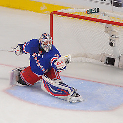 May 14, 2012: New York Rangers goalie Henrik Lundqvist (30) makes a glove save during first period action in game 1 of the NHL Eastern Conference Finals between the New Jersey Devils and New York Rangers at Madison Square Garden in New York, N.Y.