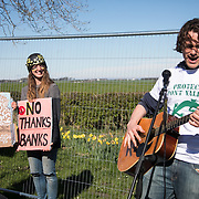 Day of protest in Pont Valley 5 May 2018 against the extraction of coal by the mining company Banks outside Dipton in Pont Valley, County Durham. Locals have fought the open cast coal mine for thirty years and three times the local council rejected planning permissions but central government has overruled that decision and the company Banks was granted the license and rights to extract coal in early 2018. Locals have teamed up with climate campaigners and together they try to prevent the mining from going ahead. The mining will have huge implications on the local environment and further coal extraction runs agains the Paris climate agreement. A rare species of crested newt live on the land planned for mining and protectors are trying to stop the mine to save the newt.