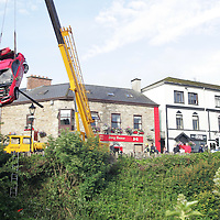 The Honda Prelude car which valted over a wall and ended up in the Canal that runs along side the Shannon in Killaloe County Clare. Pic Sean Curtin Press 22.<br /> <br /> STORY BY PAT FLYNN  0862515101