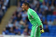 Neil Etheridge , the Cardiff city goalkeeper looks on. EFL Skybet championship match, Cardiff city v Sheffield Utd at the Cardiff City Stadium in Cardiff, South Wales on Tuesday 15th August 2017.<br /> pic by Andrew Orchard, Andrew Orchard sports photography.