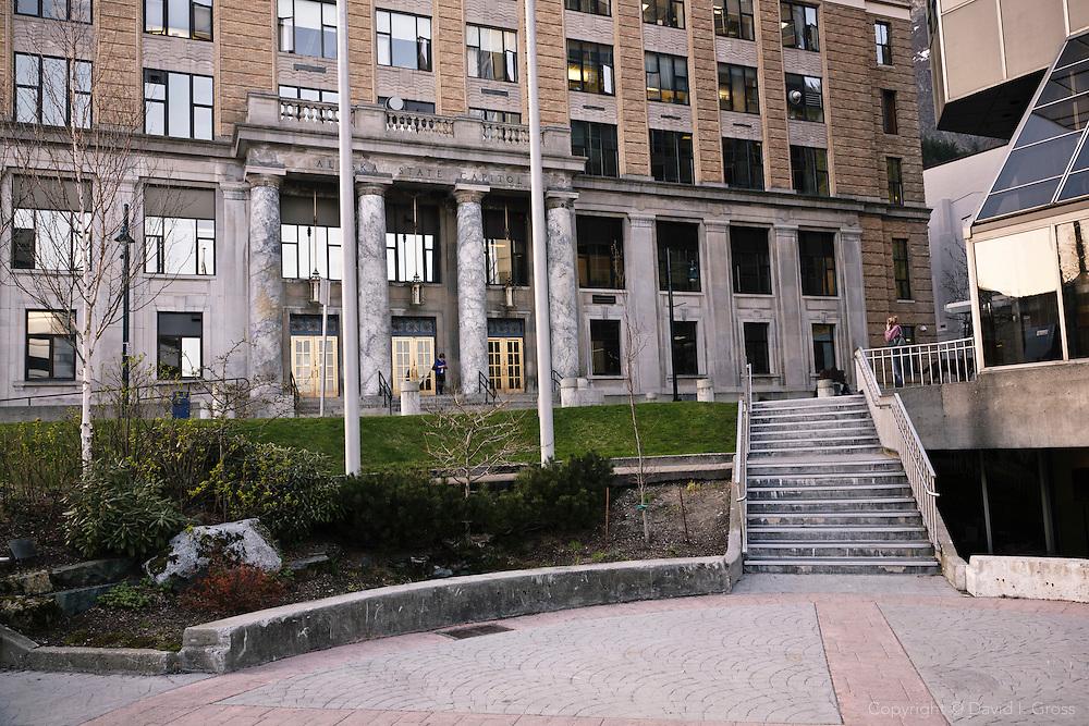 The front of the Alaska State Legislature Building in Juneau.