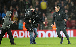 Southampton manager Ralph Hasenhuttl celebrates after the final whistle during the Premier League match at St Mary's Stadium, Southampton.