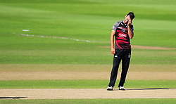 Lewis Gregory of Somerset reacts to a chance  - Mandatory by-line: Alex Davidson/JMP - 29/08/2016 - CRICKET - Edgbaston - Birmingham, United Kingdom - Warwickshire v Somerset - Royal London One Day Cup semi final
