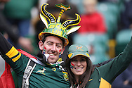 South African fans look on before k/o. Rugby World Cup 2015 quarter final match, South Africa v Wales at Twickenham Stadium in London, England  on Saturday 17th October 2015.<br /> pic by  John Patrick Fletcher, Andrew Orchard sports photography.
