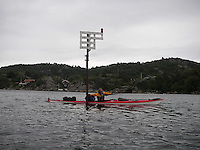 Kayaker with tail wind approaching Mandal - kajakkpadler har medvind på vei til Mandal, Vest agder
