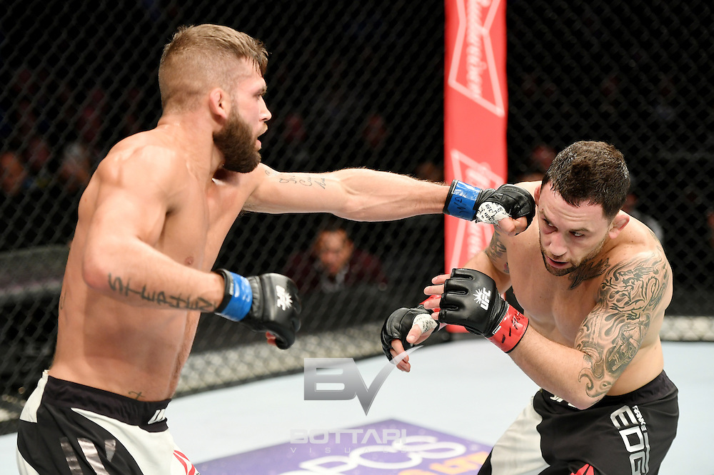NEW YORK, NY - NOVEMBER 12:  Jeremy Stephens of the United States (left) fights against Frankie Edgar of the United States in their featherweight bout during the UFC 205 event at Madison Square Garden on November 12, 2016 in New York City.  (Photo by Jeff Bottari/Zuffa LLC/Zuffa LLC via Getty Images)