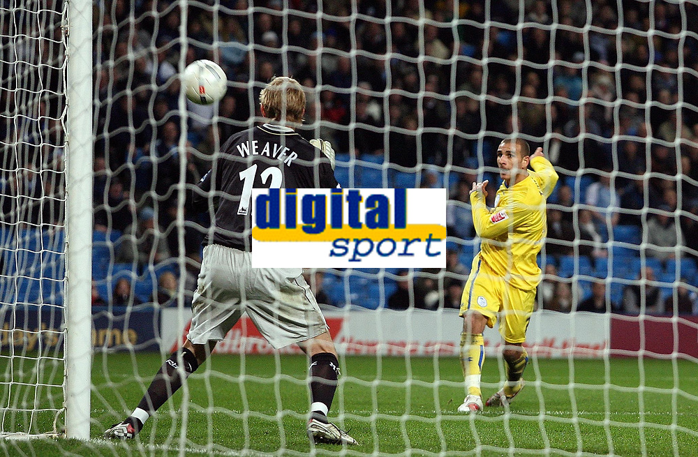 Photo: Paul Thomas.<br /> Manchester City v Sheffield Wednesday. The FA Cup. 16/01/2007.<br /> <br /> Marcus Tuogay (R) of Wednesday has this chance to equalise, but some how put it over the bar and doesn't even force a save from keeper Nicky Weaver (12).