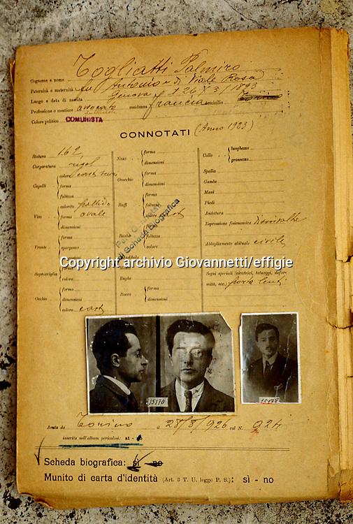 Palmiro Togliatti <br />dal Casellario Politico Centrale<br />archivio Giovannetti/effigie