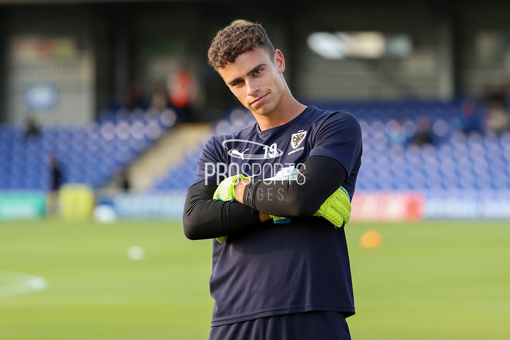 AFC Wimbledon goalkeeper Nicola Tzanev (25) with arms folded during the Pre-Season Friendly match between AFC Wimbledon and Crystal Palace at the Cherry Red Records Stadium, Kingston, England on 30 July 2019.