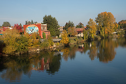 United States, Washington, Snohomish, downtown and Snohomish river in fall