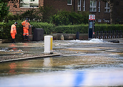 © Licensed to London News Pictures. 24/06/2021. London, UK. A river of water in St John's Wood, North London, where a burst pipe has has cause flooding across a number of streets in the area. Photo credit: Ben Cawthra/LNP