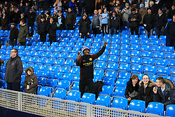 9th January 2018 - Carabao Cup (Semi Final) - 1st Leg - Manchester City v Bristol City - A lone Man City fan cheers on his side surrounded by empty seats - Photo: Simon Stacpoole / Offside.