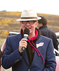 © Licensed to London News Pictures. 18/04/2013. Lands End, UK. Chris Evans ahead of his Lands End to John O'Groats drive in a pink Rolls Royce with Garry Barlow, James May and Professor Brian Cox. The aim is to raise 1 Million pounds for Breast Cancer Care. Photo credit : Ashley Hugo/LNP
