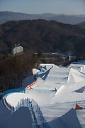 Contrasting light over the boardercross course at the Pyeongchang Winter Olympics on 16th February 2018 at Phoenix Snow Park in South Korea