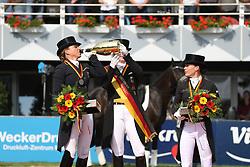 Schneider, Dorothee (GER);<br /> Werth, Isabell (GER);<br /> Sprehe, Kristina (GER)<br />  <br /> Balve - Optimum 2016<br /> © Stefan Lafrentz