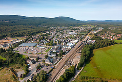 Aerial view from drone of the village of Aviemore, Cairngorms National Park, Highland Region,  Scotland, UK
