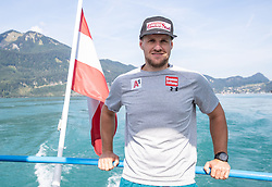 17.07.2019, Sankt Gilgen, AUT, OeSV, Pressetermin Herren Speed Team, Wasserskifahren und Wakesurfen beim Wolfgangsee, im Bild Johannes Kröll // Johannes Kroell during a press conference of the Austrian Ski Association (OeSV), Mens Speed Team waterskiing and wakesurfing at the Wolfgangsee Sankt Gilgen, Austria on 2019/07/17. EXPA Pictures © 2019, PhotoCredit: EXPA/ Johann Groder