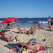 A beach scene on Ipanema beach, Rio de Janeiro,  Brazil. 4th July 2010. Photo Tim Clayton..