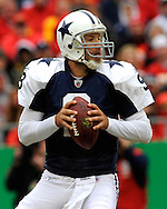 October 11, 2009:   Quarterback Tony Romo #9 of the Dallas Cowboys drops back to pass in the first half against the Kansas City Chiefs at Arrowhead Stadium in Kansas City, Missouri.  The Cowboys defeated the Chiefs in overtime 26-20...