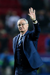 Leicester City manager Claudio Ranieri waves to the away fans after a 2-1 loss - Rogan Thomson/JMP - 22/02/2017 - FOOTBALL - Estadio Ramon Sanchez Pizjuan - Seville, Spain - Sevilla FC v Leicester City - UEFA Champions League Round of 16, 1st Leg.