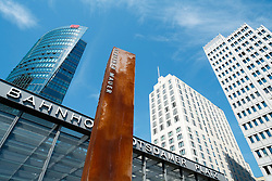 Marker post of former route of Berlin Wall in Potsdamer Platz Berlin Germany