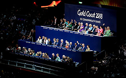 The Prince of Wales and the Duchess of Cornwall sit together in the stands (back row) during the Opening Ceremony for the 2018 Commonwealth Games at the Carrara Stadium in the Gold Coast, Australia.