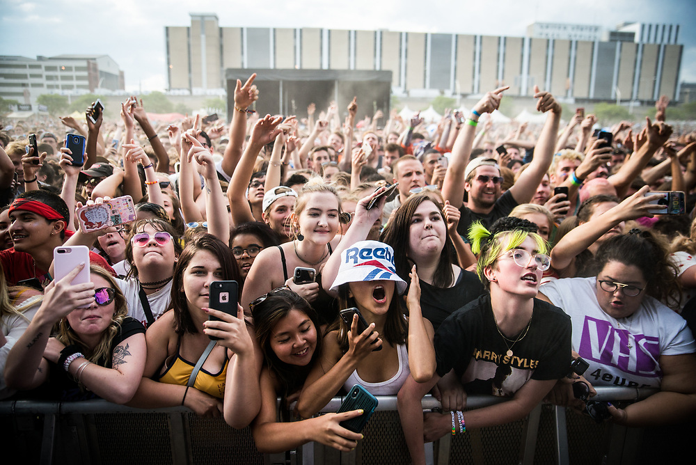 Cindy and Emma Uruma, center, dance during Brockhampton's set at the Mo Pop festival in Detroit, Mich. on July 29, 2018.<br /> <br /> Credit: Cameron Pollack / Detroit Free Press