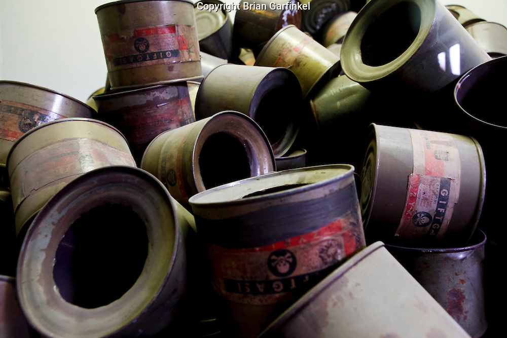 Empty gassing pellet containers on display in Auschwitz Concentration Camp in Poland on Tuesday July 5th 2011.  (Photo by Brian Garfinkel)