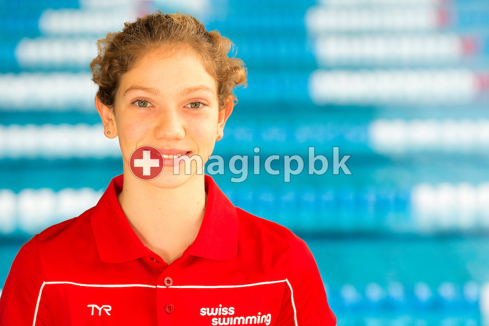 Swimmer Zelie STAUFFER of Switzerland is pictured during a portrait session during the Swiss Short Course Swimming Championships in Uster, Switzerland, Tuesday, Aug. 12, 2014. (Photo by Patrick B. Kraemer / MAGICPBK)
