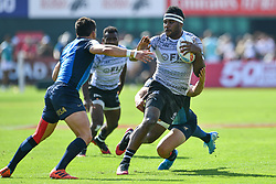 Vilimoni Botitu of Fiji in action<br /> <br /> Photographer Craig Thomas/Replay Images<br /> <br /> World Rugby HSBC World Sevens Series - Day 2 - Friday 6rd December 2019 - Sevens Stadium - Dubai<br /> <br /> World Copyright © Replay Images . All rights reserved. info@replayimages.co.uk - http://replayimages.co.uk