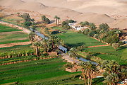 An ariel view of a section of cultivated land at the edge of the desert from a Hod-Hod Soliman hot-air balloon near the Valley of the Kings Luxor Egypt early in the morning