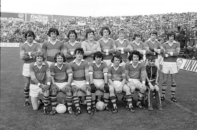The Kerry team before the All Ireland Minor Gaelic Football Final, Tyrone v Kerry in Croke Park on the 28th September 1975.<br /> <br /> The rules for Gaelic Football were published in United Ireland on 7 February 1885, by the Gaelic Athletic Association. GAA .<br /> <br /> those for weight-throwing on 14 February, and those for athletics (also given below) and for GAA sports in general, were published on 21 February.<br /> <br /> 6. Pushing or tripping from behind, holding from behind, or butting with the head shall be deemed foul and players so offending shall be asked to stand aside and may not afterwards take any part in the match, nor can his side substitute another man.<br /> 7. The time of actual play shall be one hour. Sides to be changed at half-time.<br /> 8. The match shall be decided by the greater number of goals. If no goal be kicked, the match shall be deemed a draw. A goal is scored when the ball is kicked through the goalposts under the cross-bar.<br /> 9. When the ball is kicked over the side-line it shall be thrown back in any direction by a player of the other side. If kicked over the goal-line by a player of the other side, the goal-keeper whose line it crosses shall have a free kick. No player on the other side to approach nearer than 25 yards of him till the ball is kicked.<br /> 10. The umpires and referee shall have, during the match, full power to disqualify any player or order him to stand aside and discontinue play for any act which they may consider unfair as set out in Rule 6.